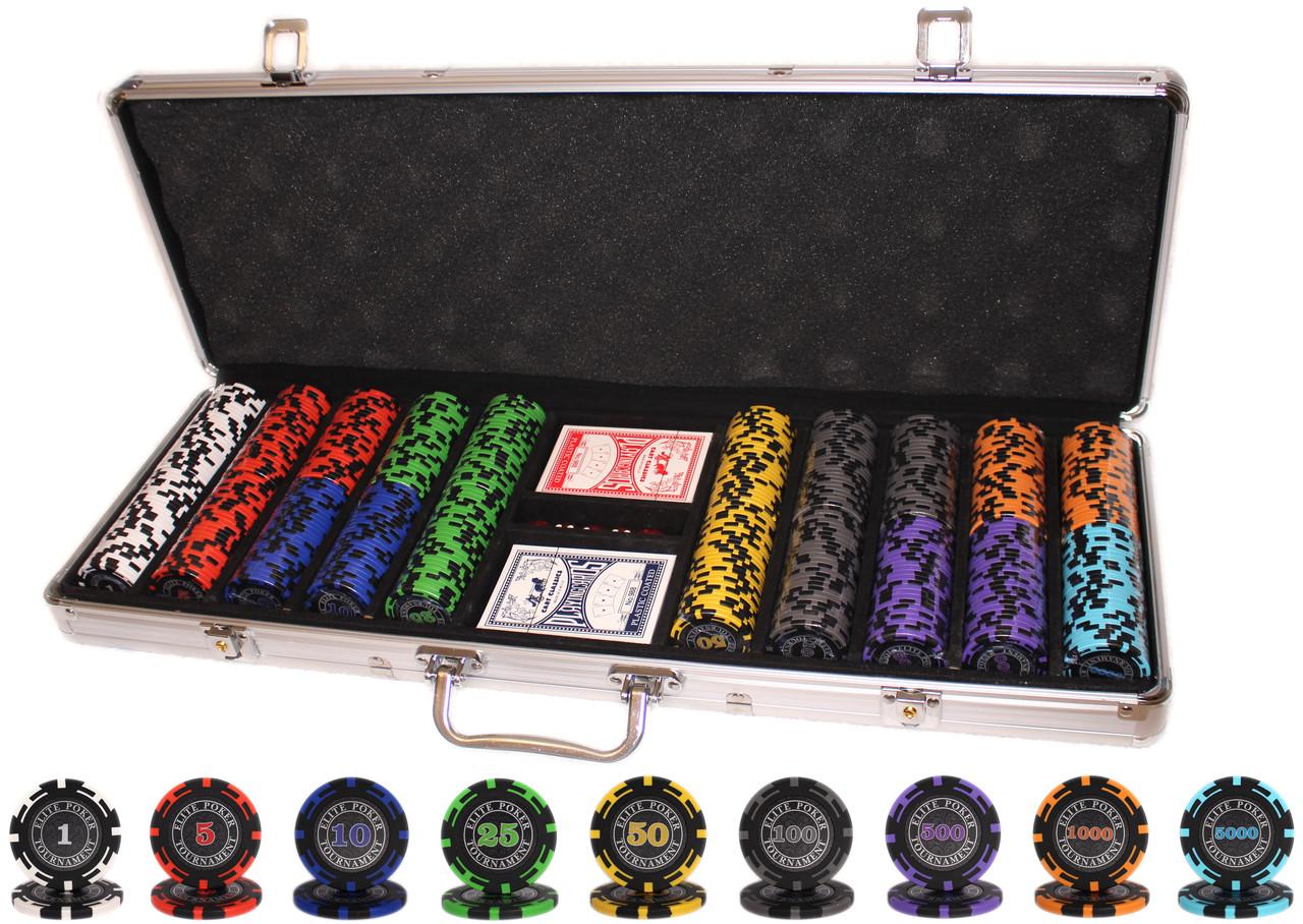 """Набор для покера """"Elite Poker Tournament 500"""" фишки с номиналом"""