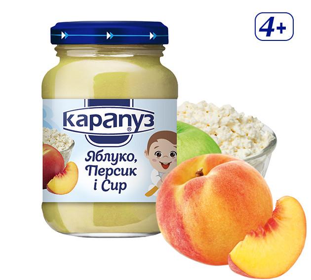 Пюре Карапуз Яблоко, персик и творог, 125 г. с 4 мес