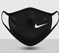 Маска для лица многоразовая Найк, Nike натуральная 2-х слойная, лен, черная
