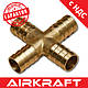 Cоединитель на шланг (крестовина, латунь) X-обр. 8*8*8мм AIRKRAFT E102-7-2 (адаптер, елочка), фото 2