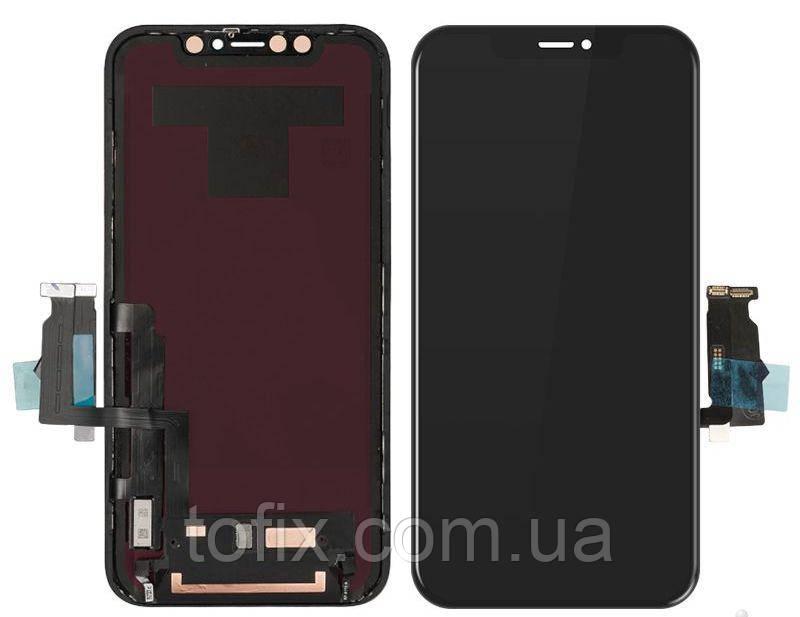 Дисплей для iPhone XR, модуль в сборе (экран и сенсор), с рамкой, черный, оригинал