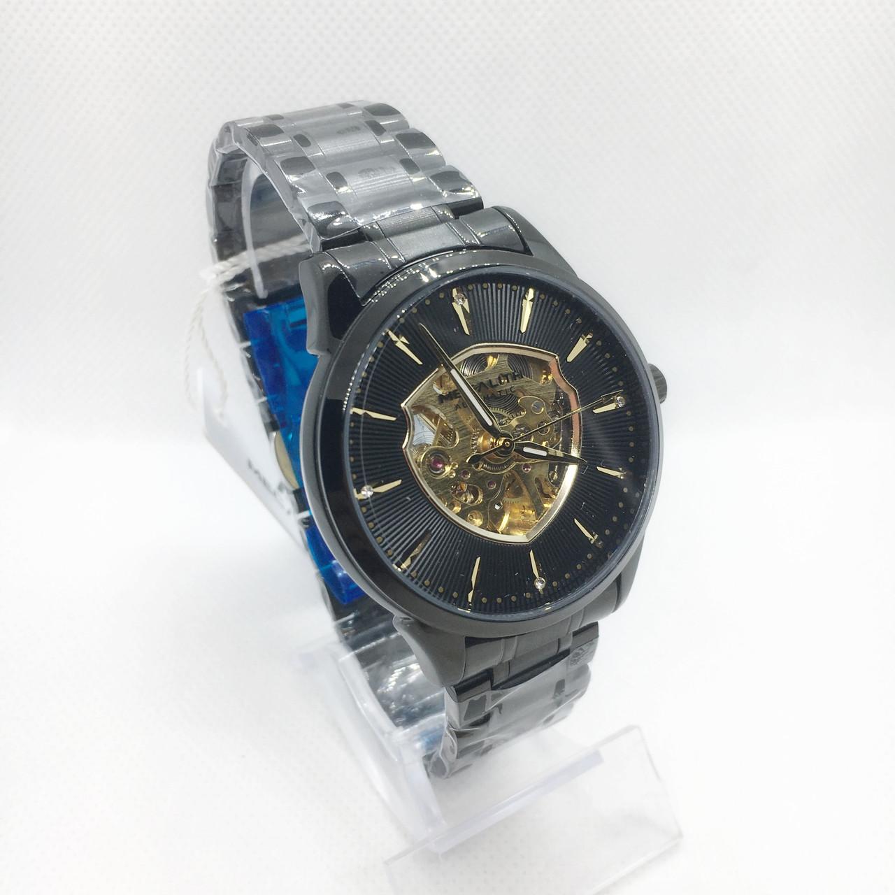 Часы мужские механические MegaLith 8210M, цвет черный с золотом ( код: IBW313BY )