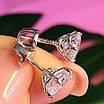 Cерьги гвоздики серебро с сияющим цирконием 7 мм - Серебряные пуссеты с фианитом бриллиантовой огранки, фото 2