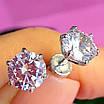 Cерьги гвоздики серебро с сияющим цирконием 7 мм - Серебряные пуссеты с фианитом бриллиантовой огранки, фото 3