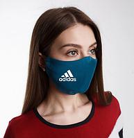 Маска для лица многоразовая Адидас, Adidas натуральная 2-х слойная, лен, изумруд