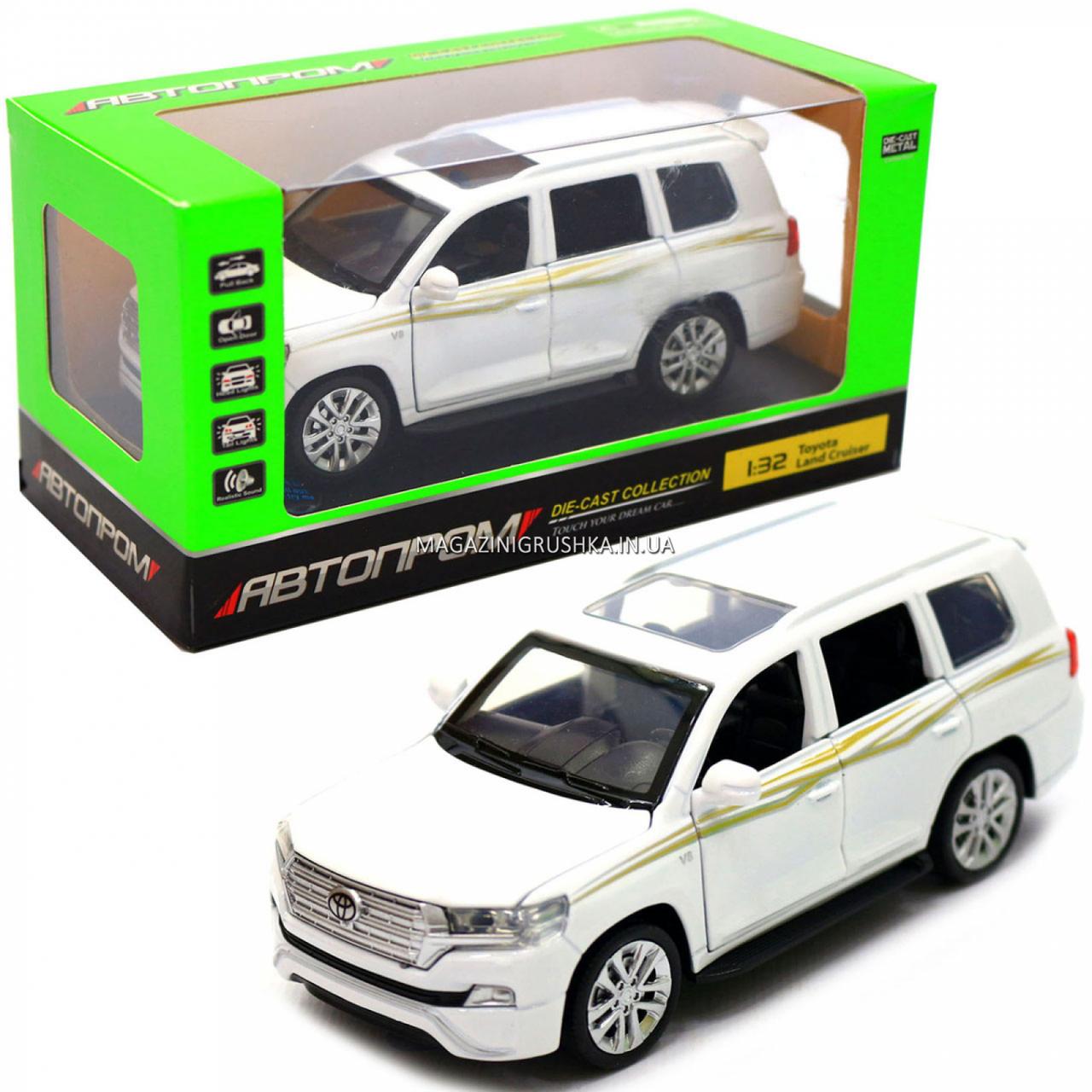 Машинка ігрова автопром «Toyota Land Cruiser» метал, біла, 14 см, (світло, звук, двері відкриваються) 6608
