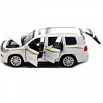 Машинка игровая автопром «Toyota Land Cruiser» Белая со световыми и звуковыми эффектами (6608), фото 7