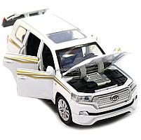 Машинка игровая автопром «Toyota Land Cruiser» Белая со световыми и звуковыми эффектами (6608), фото 9