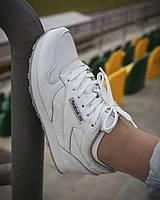 Кроссовки женские в стиле Reebok Classic демисезонные спортивные на шнуровке белого цвета