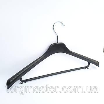 Плечики пластиковые с перекладиной черные, 38см