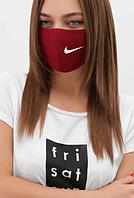 Маска натуральная Найк, Nike 2-х слойная, лен, бордовая