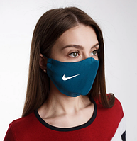 Маска для лица многоразовая Найк, Nike  натуральная 2-х слойная, лен, изумруд