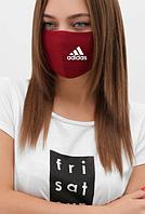 Маска натуральная Адидас, Adidas 2-х слойная, лен, бордовая