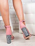 Босоножки женские на каблуке замшевые пудра с блестками, фото 3