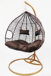 Подвесное кресло-качалка кокон B-183Е (коричневое)