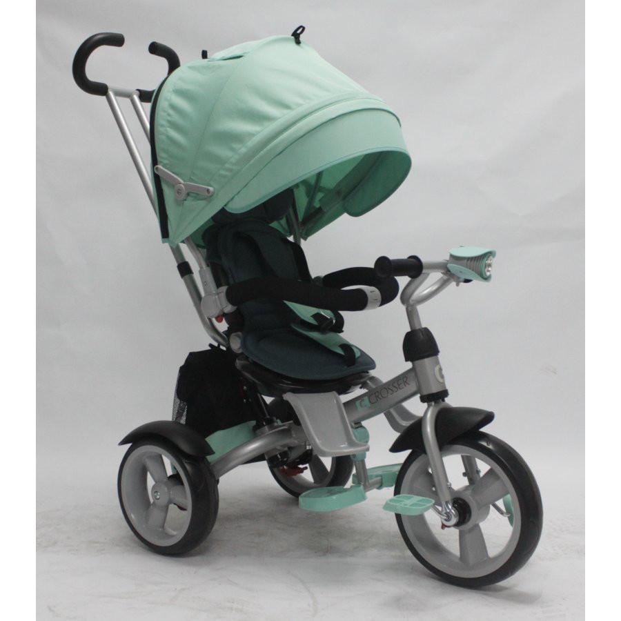 Трехколесный велосипед с фарой и поворотным сиденьем Azimut Crosser T503 EVA, бирюза