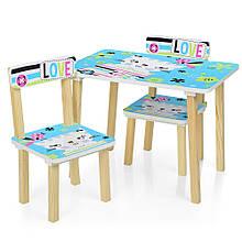 Деревянный столик и два стульчика Кошка, 501-58-2 голубой