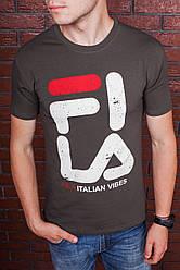 Футболка мужская хаки в стиле FILA с принтом. Мужская футболка с коротким рукавом. Чоловіча футболка