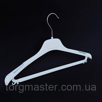Белые пластиковые вешалки с перекладиной, 40см