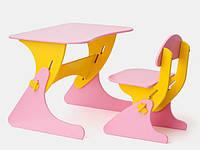 Детский столик и стульчик для ребенка розово-желтый / Детская мебель