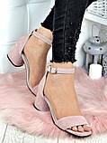 Босоножки женские замшевые на каблуке пудра, фото 2