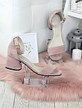 Босоножки женские замшевые на каблуке пудра, фото 3