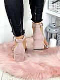 Босоножки женские замшевые на каблуке пудра, фото 4