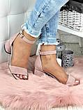 Босоножки женские замшевые на каблуке пудра, фото 5