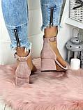 Босоножки женские замшевые на каблуке пудра, фото 6