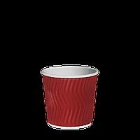 Одноразовый стакан  гофрированный, серия Красный волна 110мл. 20шт/уп (1ящ/40уп/800шт)