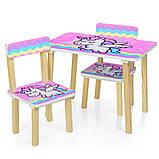 Детский деревянный столик и 2 стульчика  Единорог, 501-65, фото 2