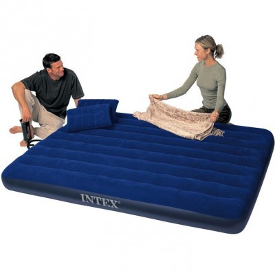 Надувной матрас Intex Royal 68765 двухместный 203 см х 152 см х 25 см с ручным насосом и 2 подушками