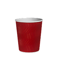 Одноразовий стакан гофрований, серія Червоний хвиля 250 мл (20шт/35рук/700), під кришку КР75, фото 1