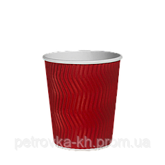 Одноразовый стакан  гофрированный, серия Красный волна 250 мл (20шт/35рук/700), под крышку КР75