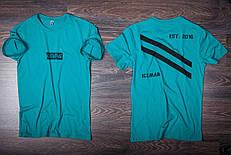 Футболка мужская бирюзовая с принтом. Мужская футболка с коротким рукавом.Футболка летняя. Чоловіча футболка