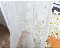 Тюль лен белый с серебряным декором, фото 1