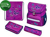 Ранец Herlitz Loop Glitter Butterfly 4 предмета школьный рюкзак для девочки - первоклассницы