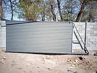 Откатные ворота с отдельно стоящей калиткой, фото 1