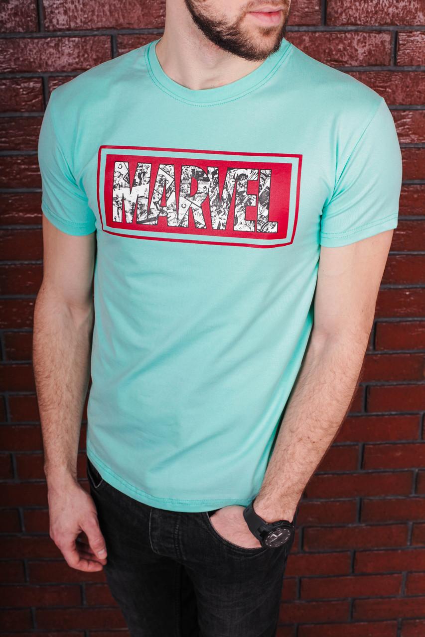 Футболка мужская мятная с принтом. Мужская футболка с коротким рукавом.Футболка летняя. Чоловіча футболка