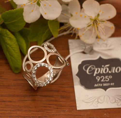 Серебряное кольцо, Арт. 622 к, Фианит, вес 2.76 г, размер 18, Общий вес 2.89 г