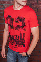 Футболка мужская красная с принтом. Мужская футболка с коротким рукавом.Футболка летняя. Чоловіча футболка