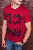 Футболка мужская бордовая с принтом. Мужская футболка с коротким рукавом.Футболка летняя. Чоловіча футболка