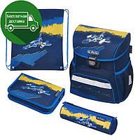 Ранец Herlitz Loop Plus Jet Самолет 4 предмета ортопедический рюкзак для младшей школы