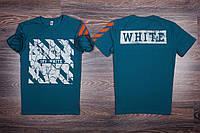 Футболка мужская зеленая с принтом в стиле OFF-WHITE. Мужская футболка с коротким рукавом. Чоловіча футболка
