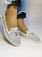 Хит! Женские летние туфли-балетки с перфорацией белого цвета 37-40 Турция.Vellena