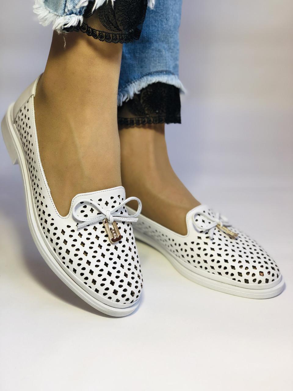 Женские летние туфли-балетки с перфорацией белого цвета. Размер 38.39 Турция.