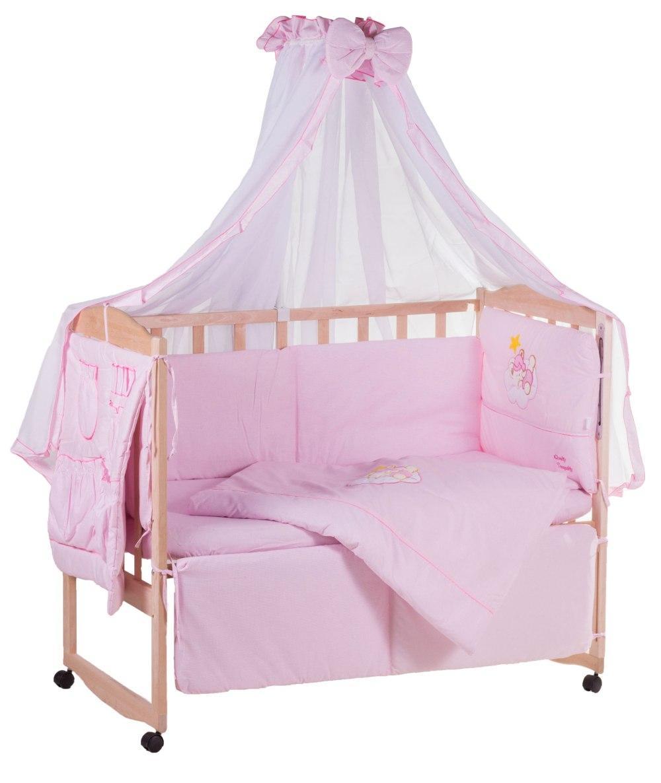 Детская постель Qvatro с аппликацией (8 элем.,со змейками на защите).  розовый (мишка на облаке)