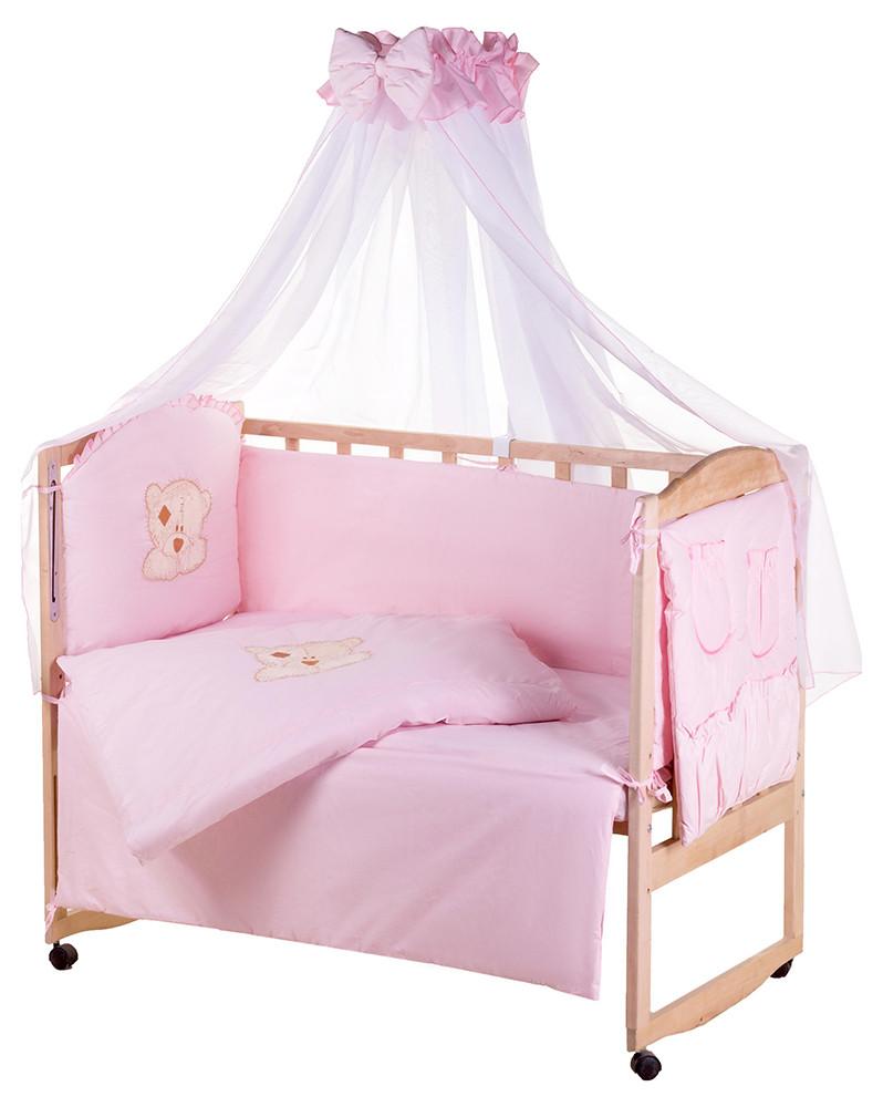 Детская постель Qvatro Gold AG-08 апликация  розовый (мишка мордочка штопанная)