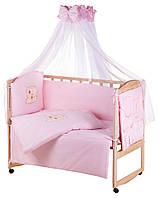 Детская постель Qvatro Gold AG-08 апликация  розовый (мишка мордочка штопанная), фото 1