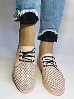 Стильні жіночі туфлі-мокасини з перфорацією.Оксфорди.Колір пудра.Туреччина. 37 38 39 40 Vellena, фото 5